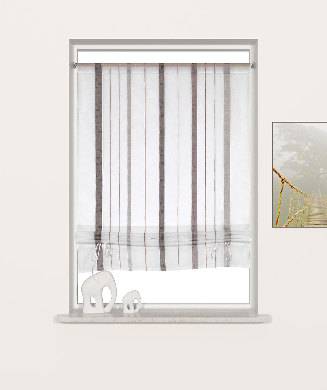 b ndchenraffrollo streifen braun ros breite 100 cm h he 135 cm romodo. Black Bedroom Furniture Sets. Home Design Ideas