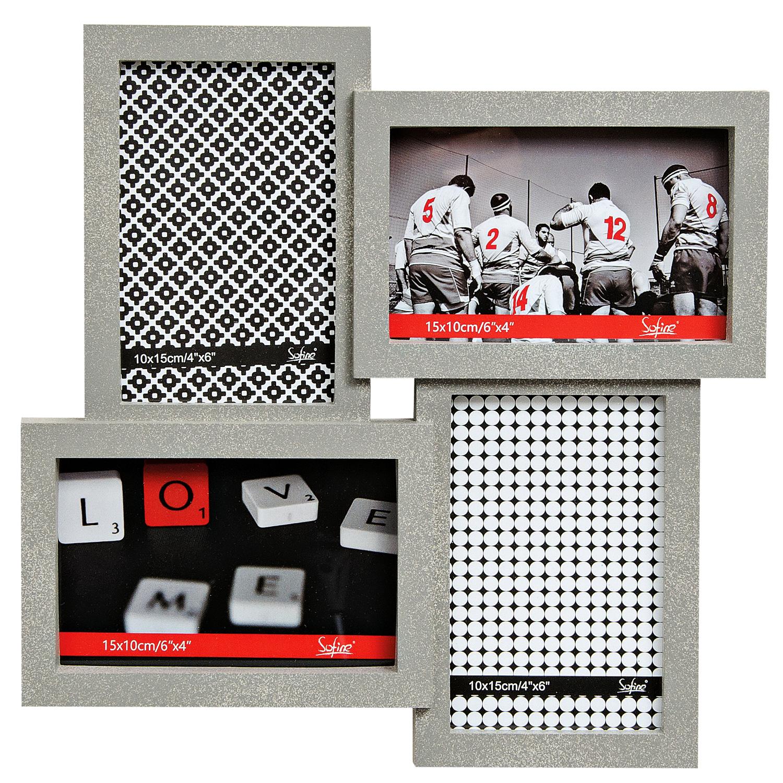 Bilderrahmen Fotorahmen für 4 Bilder 10x15 grau aus Kunststoff – ROMODO