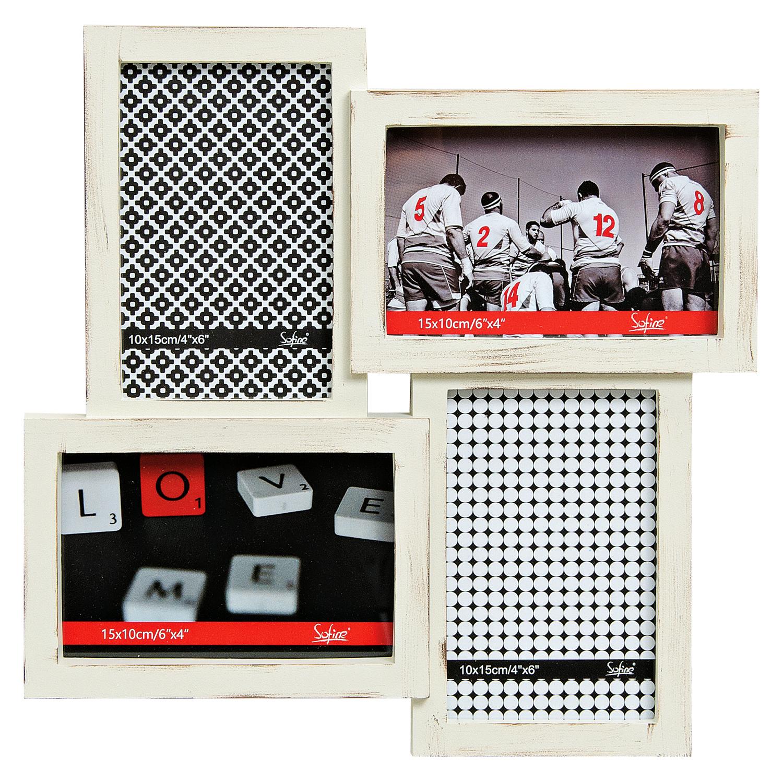 Bilderrahmen Fotorahmen für 4 Bilder 10x15 weiß aus Kunststoff – ROMODO