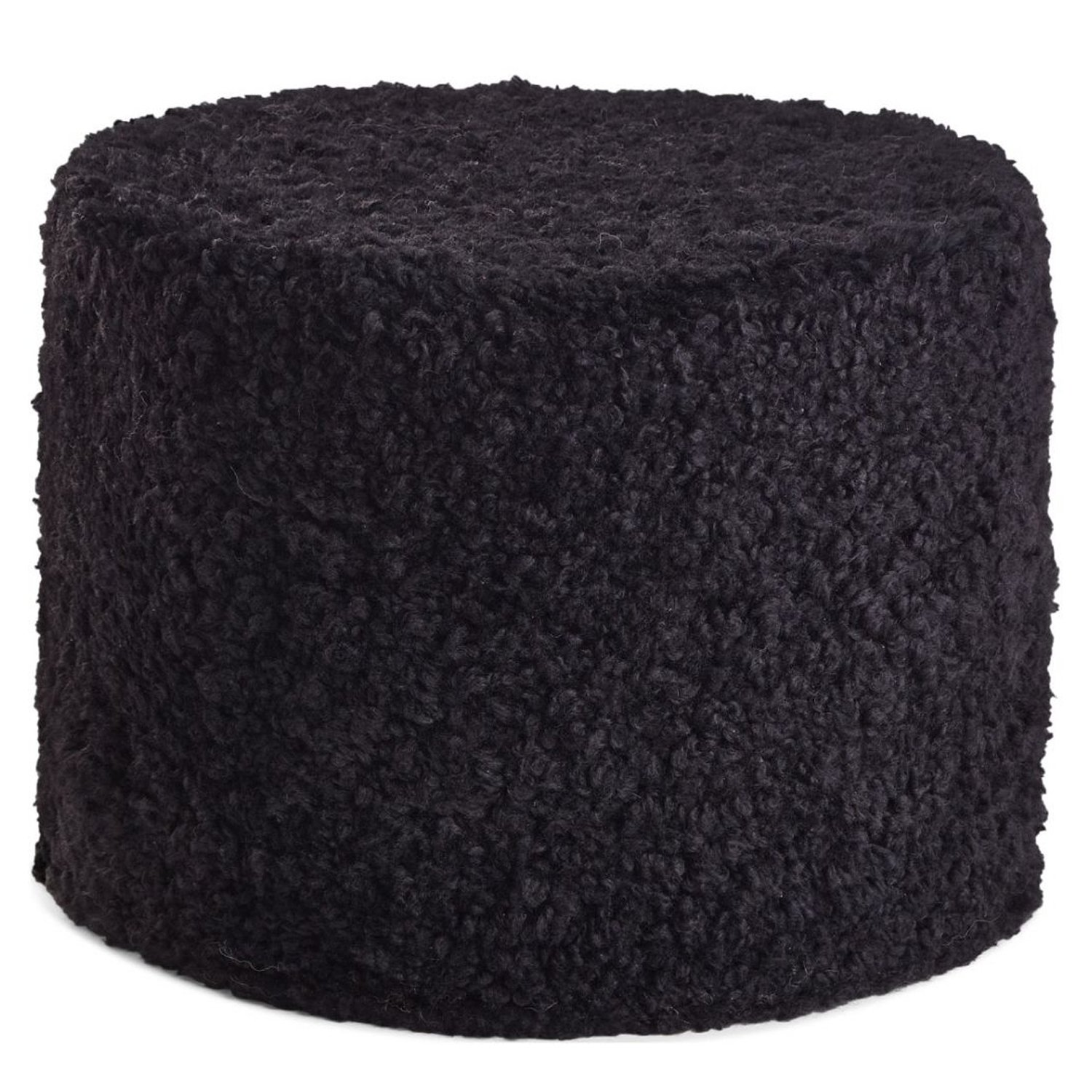Natures Collection Pouf Echtfell Kurzwolle lockig Black Neuseeland Schaffell