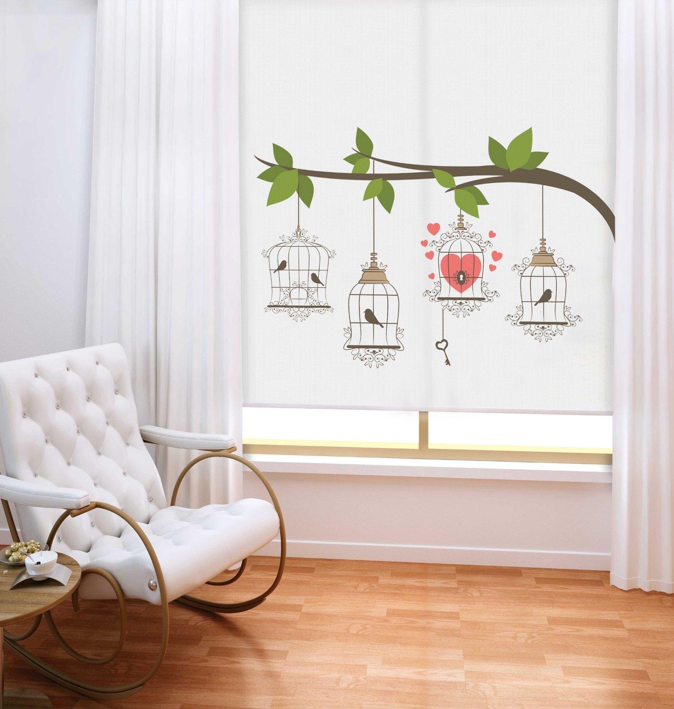sichtschutz rollo comic style v gel herz verschiedene gr en romodo. Black Bedroom Furniture Sets. Home Design Ideas