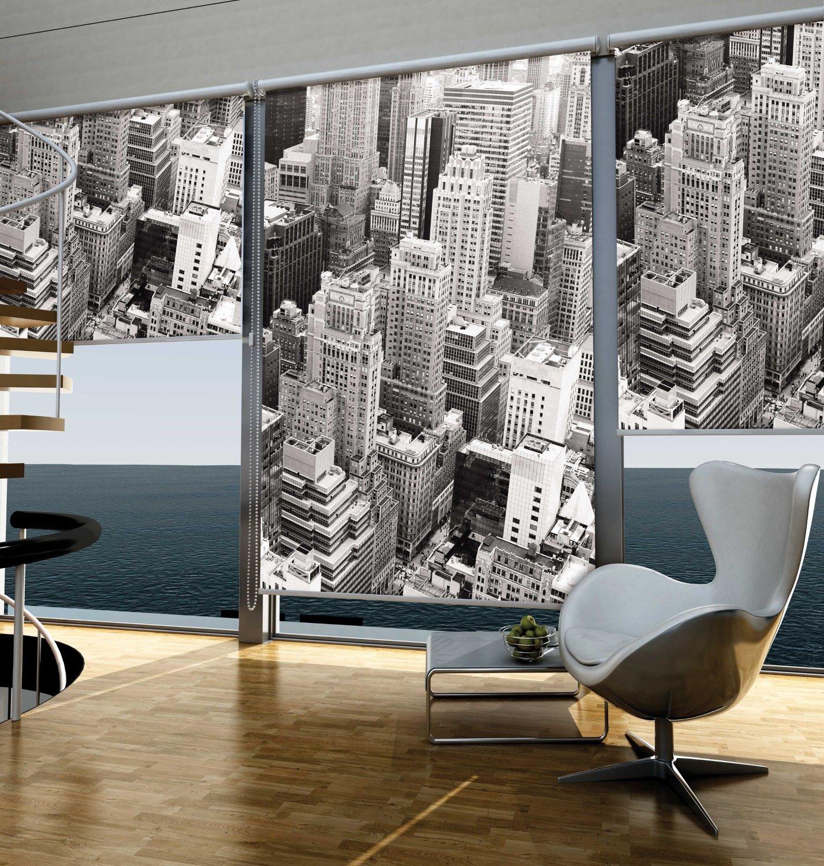 sichtschutz rollo new york schwarz wei verschiedene gr en romodo. Black Bedroom Furniture Sets. Home Design Ideas
