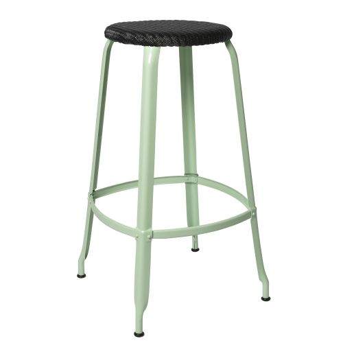 CHAISES Nicolle Hocker black Loom Glossy Pastel Green