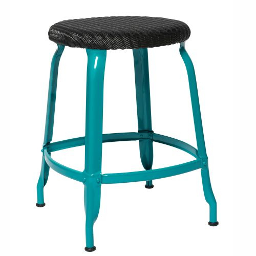 CHAISES Nicolle Hocker black Loom Glossy Turquoise Blue