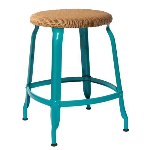 CHAISES Nicolle Hocker natural Loom Glossy Turquoise Blue