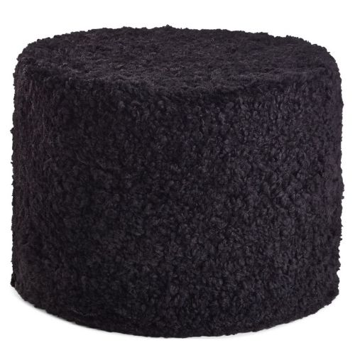Natures Collection Pouf Echtfell Kurzwolle lockig Black