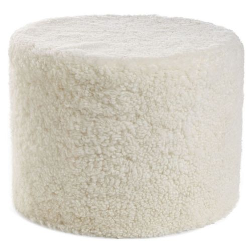 Natures Collection Pouf Echtfell Kurzwolle lockig Ivory