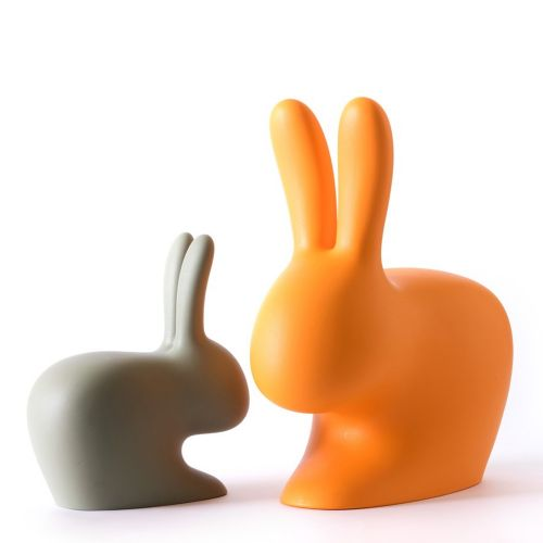 Qeeboo Rabbit Chair Hocker Hase taupe designed von Stefano Giovannoni