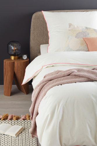Schöner Wohnen Bettwäsche Slub B Weiss Pink Romodo