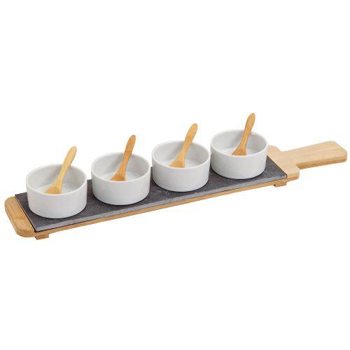 Vorspeisen Set Aus Porzellan Bambus Schiefer 9 Teilig Runde Schale